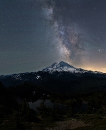 Fire Watch Views- Milky Way over Mt Rainier WA from the deck of the Tolmie Peak Fire Lookout