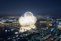 Fireworks over Han River Seoul South Korea