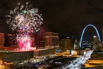 Fireworks over Kiener Plaza St Louis Missouri