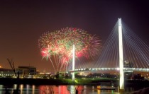 Fireworks over Missouri River - Bob Kerrey Pedestrian Bridge - Omaha Nebraska USA