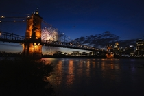 Fireworks over the Roebling Suspension Bridge on the Ohio River