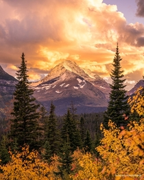 Firey Sunset in Glacier National Park Montana