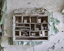 First Aid kit in an extremely decayed science laboratory
