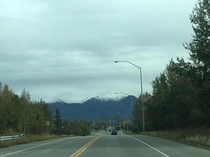 First bit of snow on the peaks Anchorage Alaska
