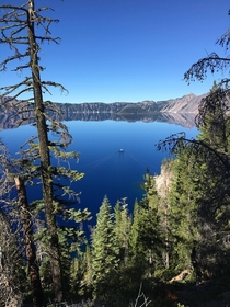 First Boat Across Crater Lake - Oregon
