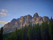 First light at Castle Mountain last fall Banff CA