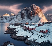 First light for the Fishermans village of Hamnoy Lofoten Norway  photo by Max Rive