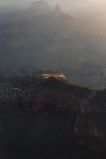 First light hitting a peak in the Grand Canyon