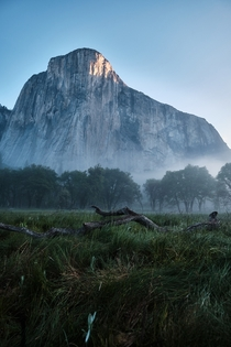 First light hitting the Dawn Wall Yosemite Valley CA  haileechen