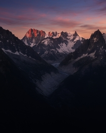 First light on the Mont Blanc Massif above Chamonix French Alps  felixsunphoto