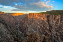 First light on the Painted Wall in Black Canyon of the Gunnison National Park Colorado