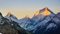 First morning light on Dent Blanche and the Matterhorn Valais Switzerland