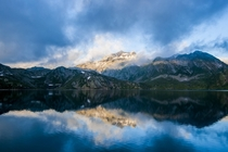 First morning lights Lake Nart Switzerland