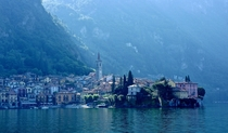 First rays of sun at Varenna Lombardy Italy