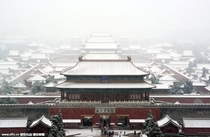 First snow in Beijing looking over the Forbidden City