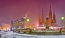 First Snow in the historic city center of Wiesbaden Germany