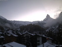 First snow of the year in Zermatt Switzerland - from the Hotel Bristol Webcam  minutes ago Link in Comments