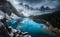 First snowfall at Moraine Lake in Banff Canada  globetrottingtimo