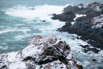 First Snowfall on the ocean cliffs of Nahant MA x OC