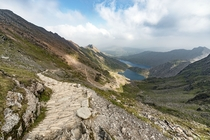 First time climbing Snowdon in Wales UK View of the Pyg track