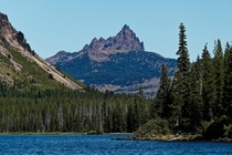 First time I risked taking my camera out on a lake Three fingered jack from the waters of Big Lake in Oregon