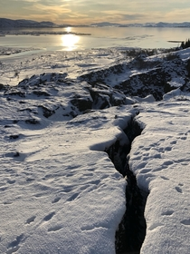 First time on Iceland National Park of ingvellir Amazing tundra landscapes and a mystical sunlight