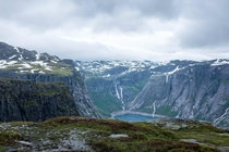 First view of Ringedalsvatnet near Tyssedal when hiking to Trolltunga