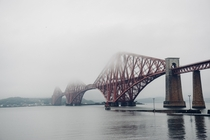 Firth of Forth Bridge in fog Scotland  Sirs John Fowler and Benjamin Baker  constructed opened