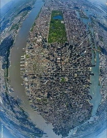 Fish eye view above Manhattan New York