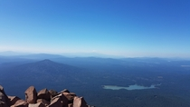Fish Lake and Mount Shasta in the distance as seen from atop Mt McLoughlin