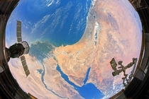 Fisheye lens view encompassing landscapes from two continentsthe Nile Delta in Africa and the Sinai Peninsula and the Levant in southwest Asia Credit Laura Phoebus Jacobs JETS Contract at NASA-JSC