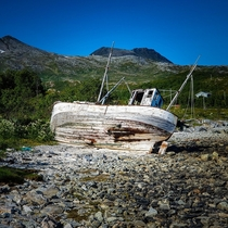 Fishing Boat Left To The Elements On An Island in Troms Norway