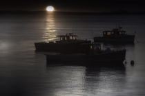 Fishing boats before dawn in Maine   Original content