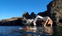 Fishing vessel JACK ABRY II aground and abandoned on the rocks of the Isle of Rum Scotland Photo by Ian Johnston