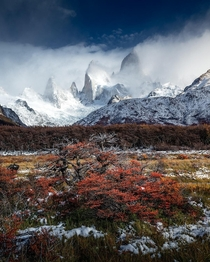 Fitz Roy covered in clouds after a snow blizzard Argentina