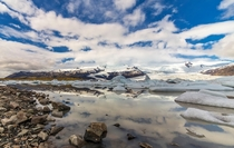 Fjallsrln glacier lagoon at mid-day in Southern Iceland