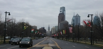 Flags of the Nations Lining the Benjamin Franklin Parkway in a Not so Sunny Philadelphia