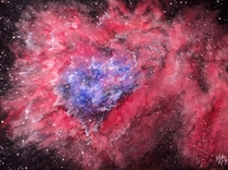 Flaming Star Nebula painted by me with watercolor and gouache