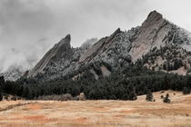 Flatirons with the first snow of the year - Boulder Colorado