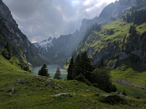 Flensee Lake before a thunderstorm Alpstein Switzerland