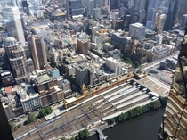 Flinders Street Station and the southern CBD of Melbourne taken from Eureka Tower