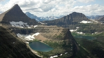 Flinsch Peak L and Mount Morgan R overlooking Young Man Lake L and Oldman Lake R in Glacier National Park Montana