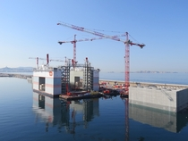 Floating construction facility Marseille harbour France OC