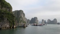 Floating fishing village Halong Bay Vietnam