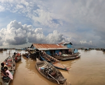Floating fishing village in Cambodia