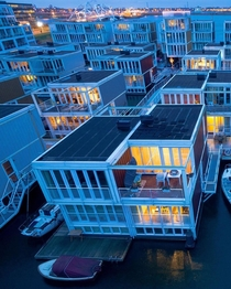 Floating houses immune to rising sea levels in the Ijburg section of Amsterdam