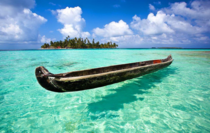 Floating in clear water Dog Island San Blas Panama
