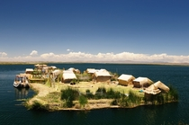 Floating Island Village on Lake Titicaca Peru at an altitude of  meters
