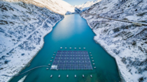 Floating solar platform on Lac des Toules Switzerland This lake already serves as a hydropower station but is now harvesting additional solar power High up in the Swiss mountains the atmosphere is rarer solar radiation stronger and in winter the snow can