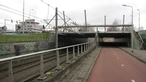 Flood barrier in a dike coupure for trambikepedestrian tunnel Amstelveen Netherlands